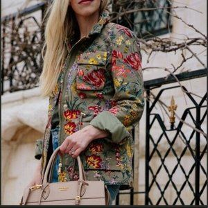 NEW H&M Floral Patterned Utility Military Jacket 4